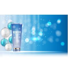 hand care winter cream bottle tube template for vector image