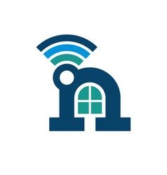 home wireless logo vector image