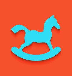 Horse toy sign whitish icon on brick wall vector