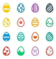 Icon set of colored Easter eggs Holiday icon vector image vector image