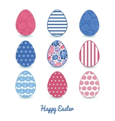 Mosaic flowers set of nine colorful easter vector