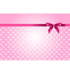 pink background with hearts pattern and bow vector image