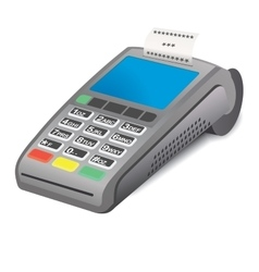 Pos terminal and printed reciept on white vector