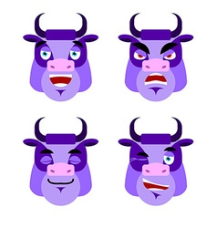 Purple cow emotions set expressions avatar bull vector