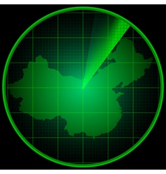 Radar screen with the silhouette of China vector image vector image