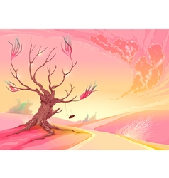 Romantic landscape with tree and sunset vector