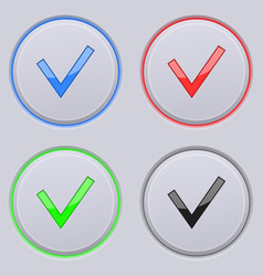 Round gray buttons with check sign colored set vector