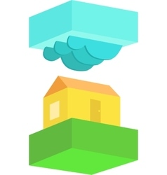 Rural house in cloudy weather vector image