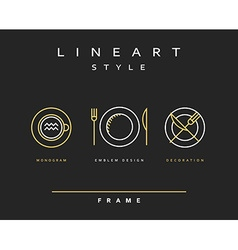 Set cutlery icons Plate fork and knife vector image