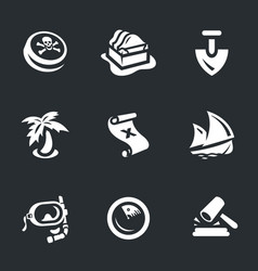 set of treasure icons vector image