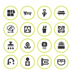 Set round icons of bathroom vector