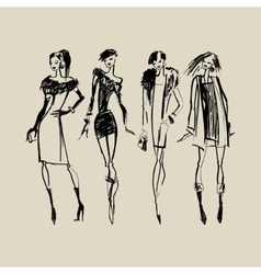 Silhouettes of Fashion Women vector image vector image