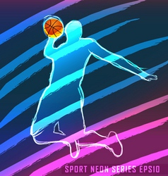 sport neon series basketball vector image vector image
