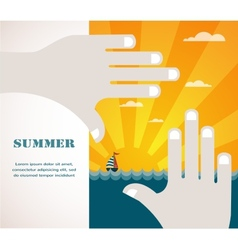 summer view of a sea inside hand frame vector image vector image