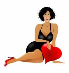 woman with heart vector image