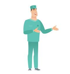 Young caucasian happy doctor gesturing vector