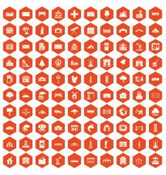 100 landscape element icons hexagon orange vector