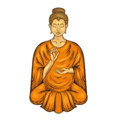 Happy buddha sitting in lotus pose teaching vector