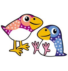 Two childish birds vector