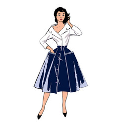 Vintage fashion dressed woman vector