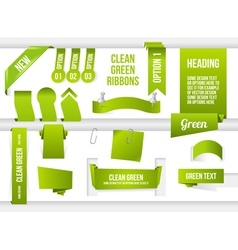 Bundle of green web elements vector