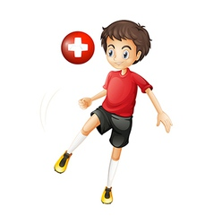 A player using the ball from switzerland vector