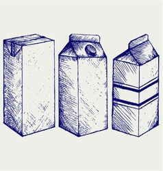 A set of boxes for milk and juice vector
