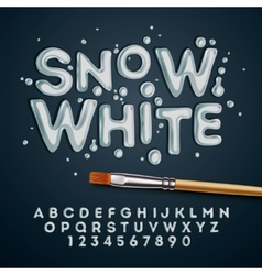 Snow white alphabet and numbers vector image