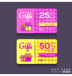 Colorful gift card design template vector
