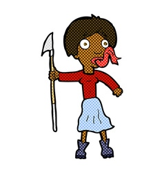 Comic cartoon woman with spear sticking out tongue vector
