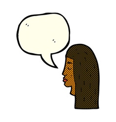 Cartoon female face profile with speech bubble vector