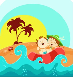 Kids on boat vector
