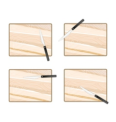 Four empty wooden cutting boards with knives vector