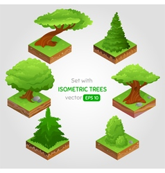 Set with isometric tree in cartoon style vector