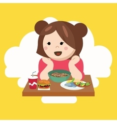 Girl kids child cute happy eating food vector