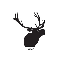 Black silhouette of a deer on vector