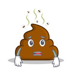 Afraid poop emoticon character cartoon vector