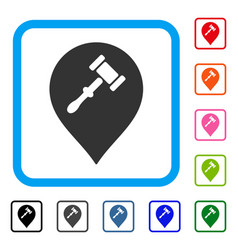 Auction hammer marker framed icon vector