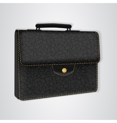 Black leather briefcase on the button vector