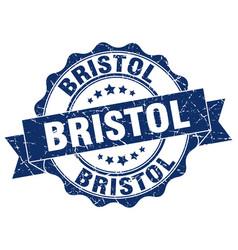 Bristol round ribbon seal vector
