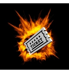 Burning ticket with fire vector image vector image