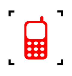 Cell phone sign red icon inside black vector