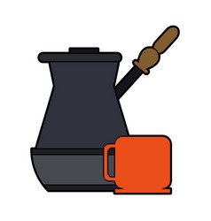 Colorful silhouette metallic jar of coffee with vector