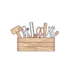 Craft tools in toolbox vector image vector image