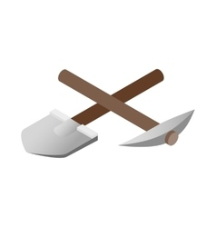 Crossover pickaxe shovel 3d isometric icon vector image
