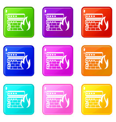 database and firewall icons 9 set vector image