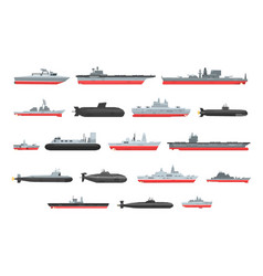 Different types of naval combat ships set vector