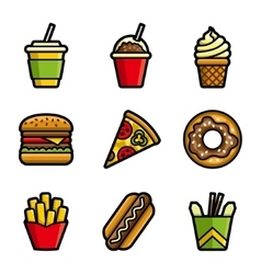 Fast food colored icon set vector