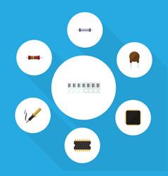 Flat icon technology set of repair resistor cpu vector