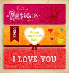 Floral Valentines Banner Set vector image